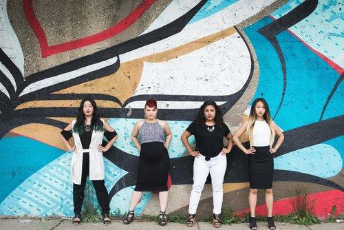 Power pose. Caiti during her APA Days.  Left to right (Caiti McDonald, Gabby Miller, Liz Galvan, Elizabeth Mangulabnan)