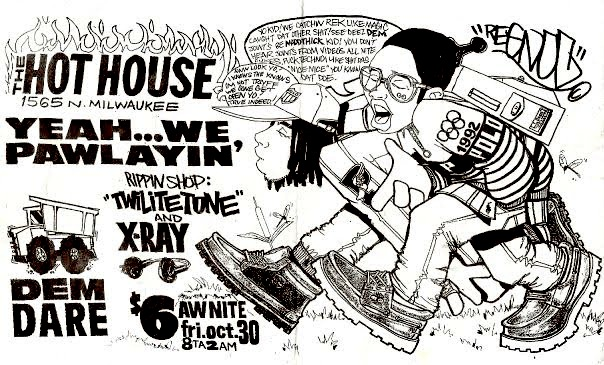 One of the flyers crafted by Regnoc (now known as Reggie Know), who really set the party people tone for Dem Dare in the 90s.