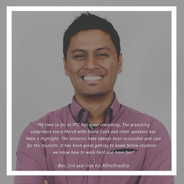 Thinking of theological study in 2019? . Ben shares what he values at PTC. Are you looking for similar things? . Get in touch with us! . Click link in bio.