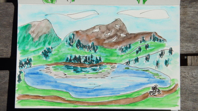 Biking from Keystone to Dillon Reservoir sketch
