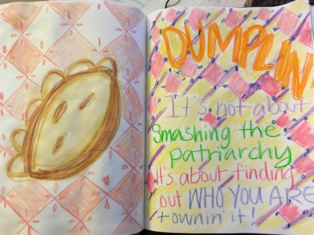 Dumplin sketchbook spread.JPG