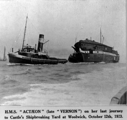 HMS ACTAEON (VERNON IV) on way to breakers 12 Oct 1923 med.jpg