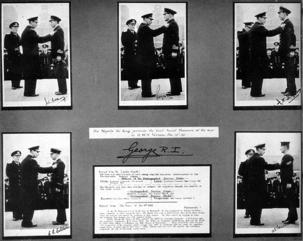 Copy of King George VI awarding decorations on HMS VERNON's parade ground on 19 December 1939