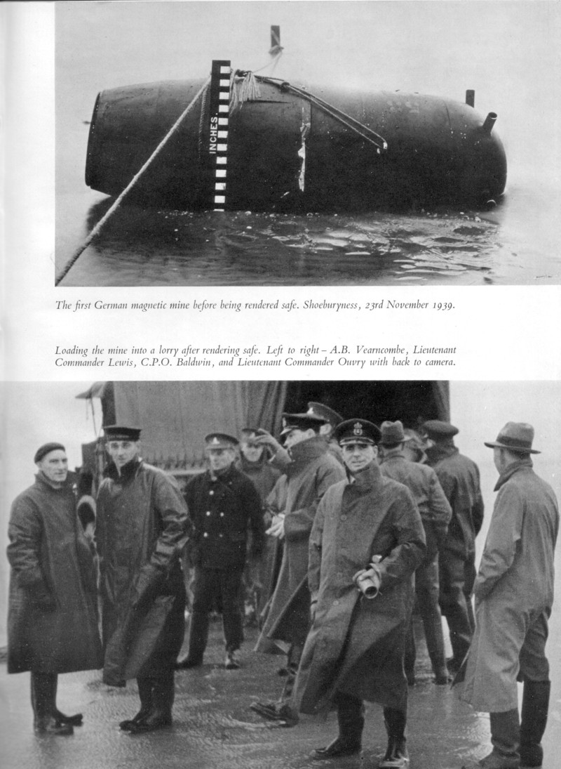 Copy of German GA magnetic mine disarmed by Ouvry's team at Shoeburyness on 23 November 1939