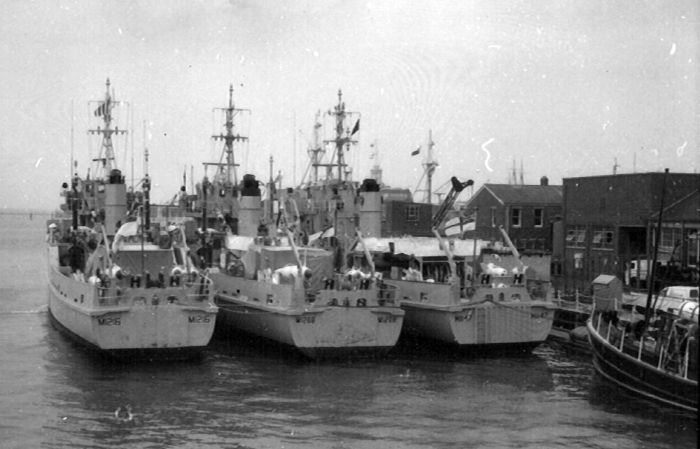 MCMVs on Maintenance Jetty at HMS VERNON In 1974