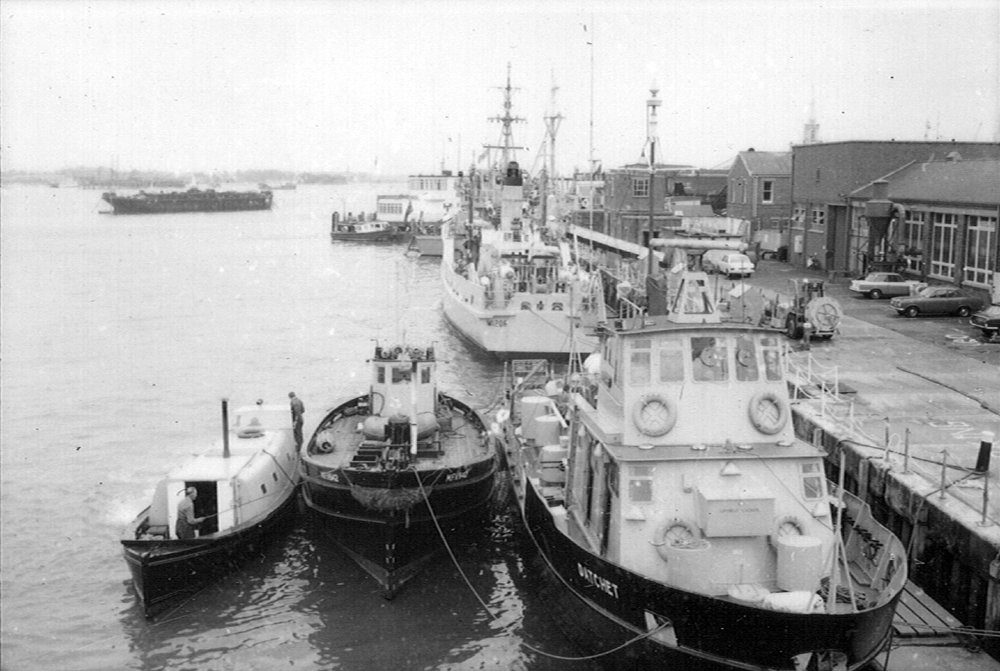 Copy of MCMVs on Maintenance Jetty at HMS VERNON in 1974