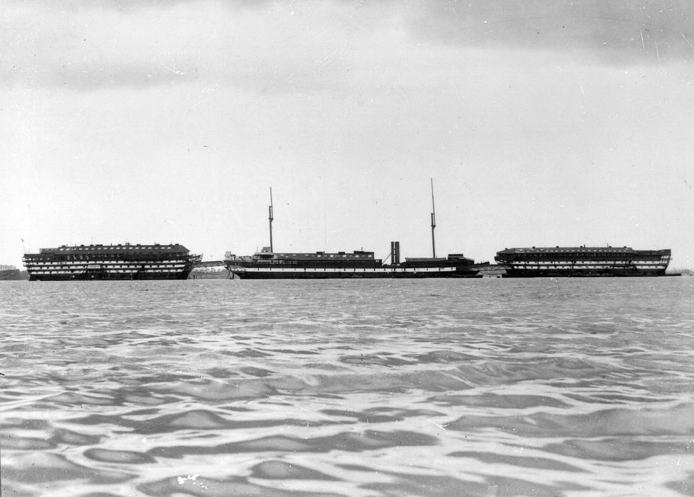 Marlborough (VERNON II), Warrior (VERNON III) and Donegal (VERNON I) in Portchester Creek