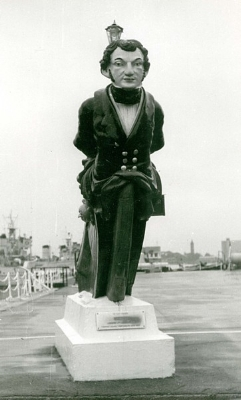 Figurehead, depicting the Hon George Vernon, from the fourth HMS Vernon - HMS VERNON 1957