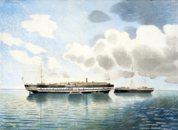 HMS Actaeon, the former HMS Ariadne (VERNON II), as painted by Eric Ravilious in 1942 (Cdr Harold West DSC* RN)