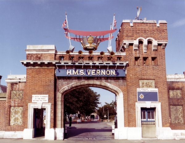 HMS VERNON's main gate decorated for the Queen's Silver Jubilee in 1977