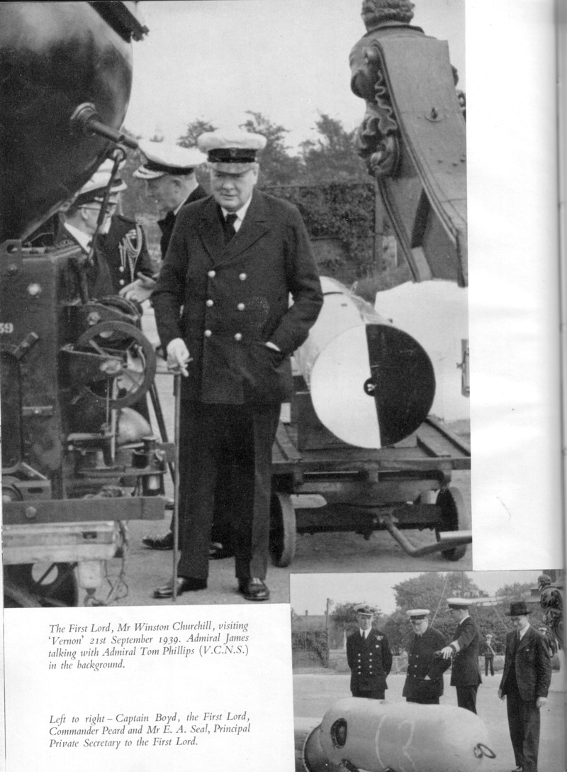 Churchill visiting HMS VERNON in September 1939