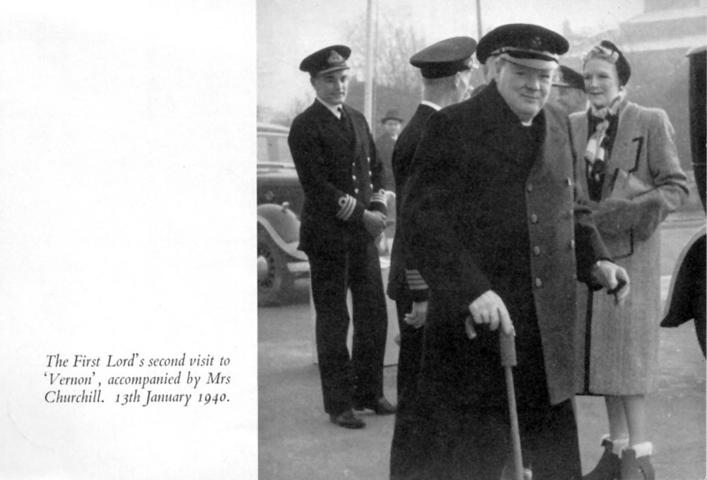 Churchill's second visit to HMS VERNON in January 1940