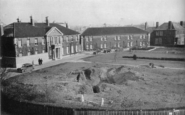 HMS Vernon wardroom garden after Luftwaffe re-landscaping Jan 1941.jpg