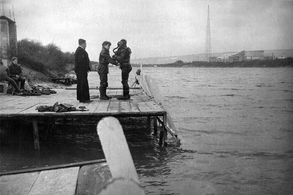 Diving training at Horsea Lake in the 1960s