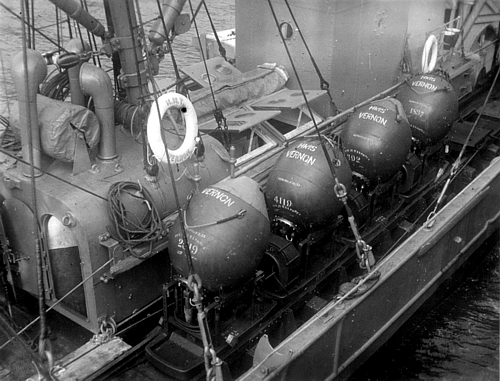 Controlled minefield prepared for laying at HMS VERNON