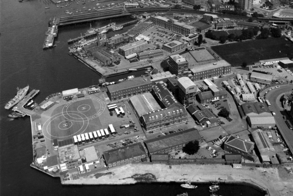 Aerial view of HMS VERNON in 1982