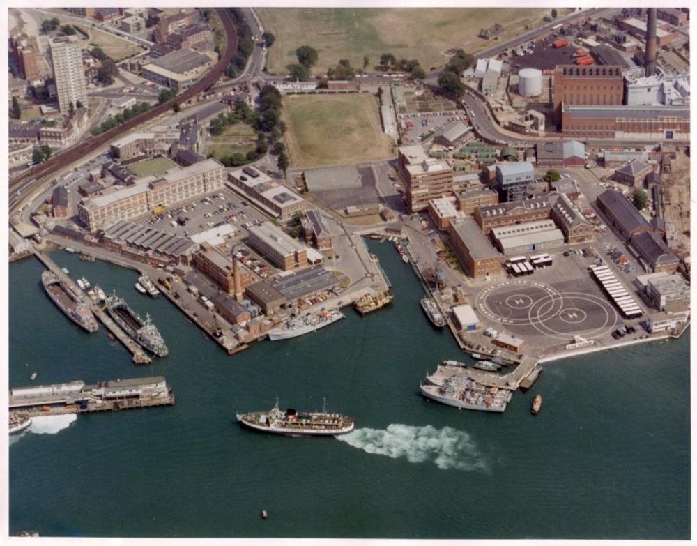 Aerial view of HMS VERNON in 1977