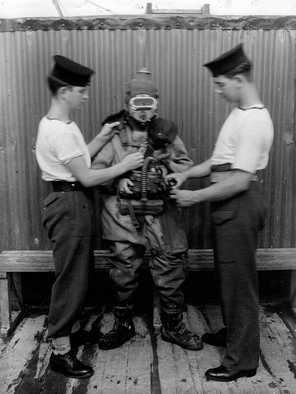 P Party diver being dressed.jpg