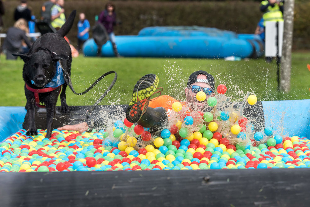 Having fun in the Muddy Dog Challenge ball pit