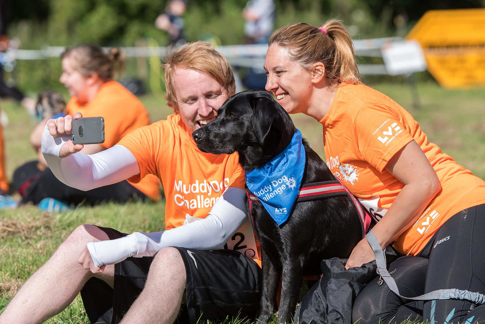A dog selfie at the Muddy Dog Challenge
