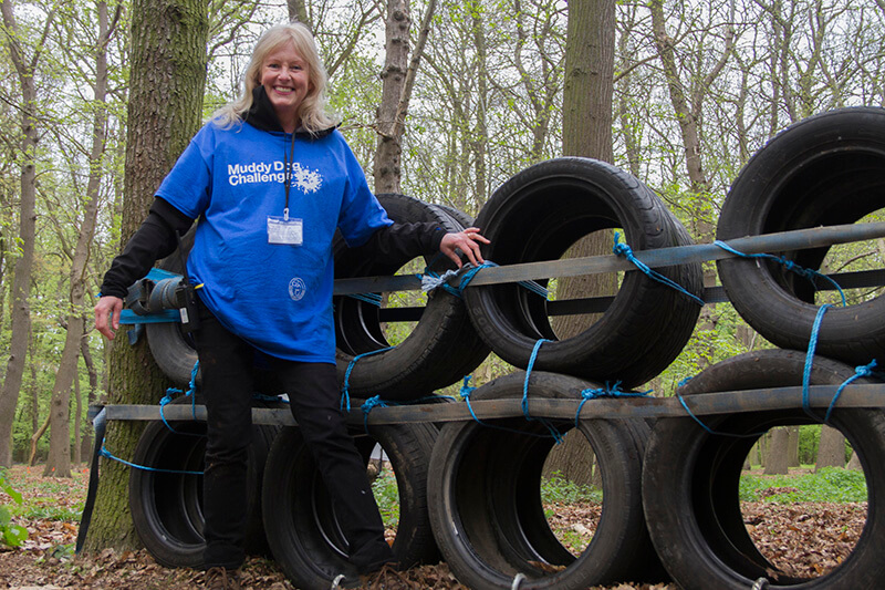 Looking after the tyres at the Muddy Dog Challenge