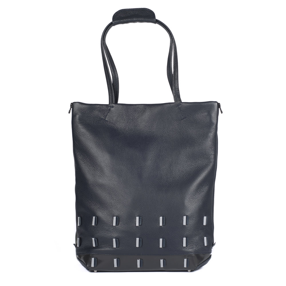 leather shoulder bag and backpack with reflective details   Martina