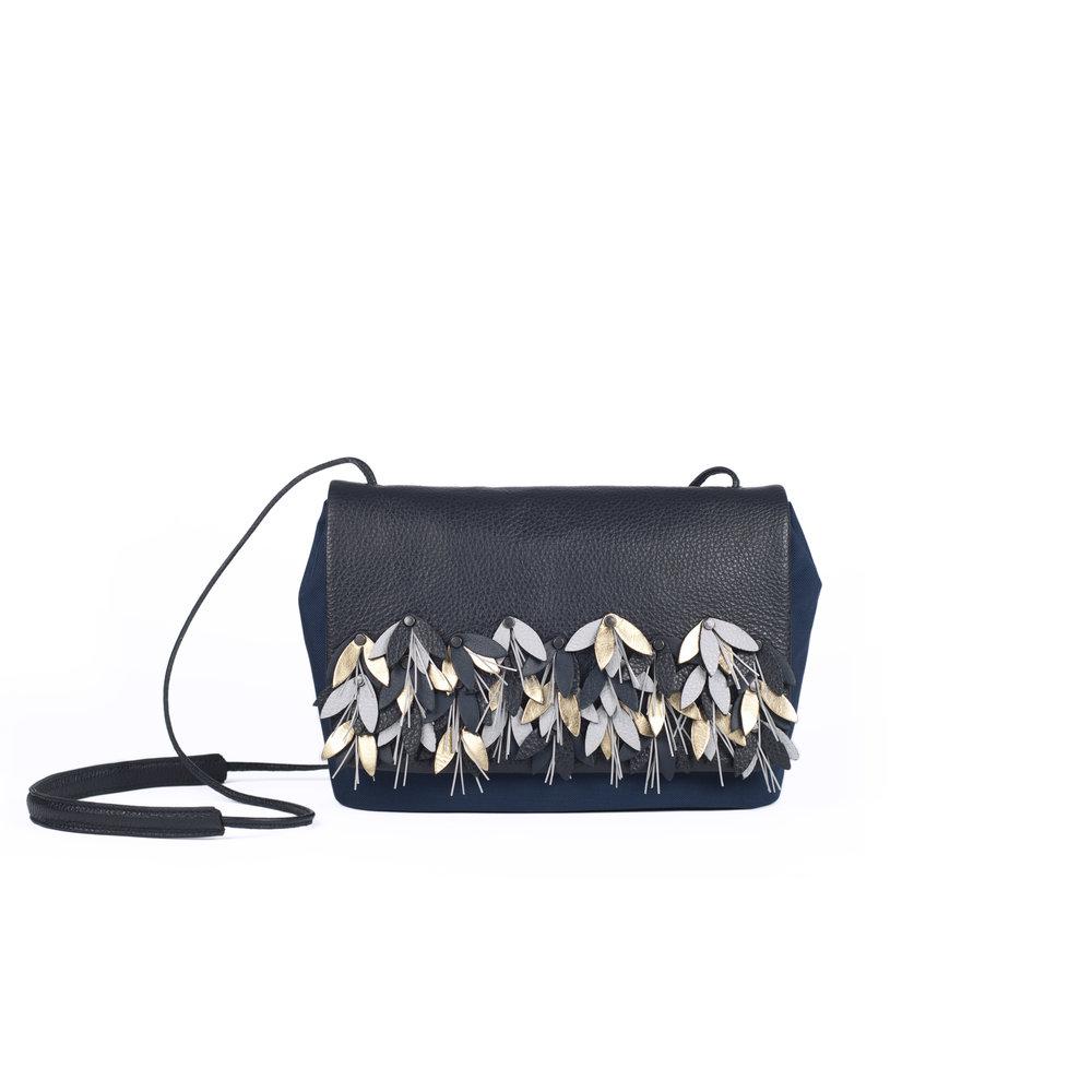 leather clutch handbag with reflective details | Pauline