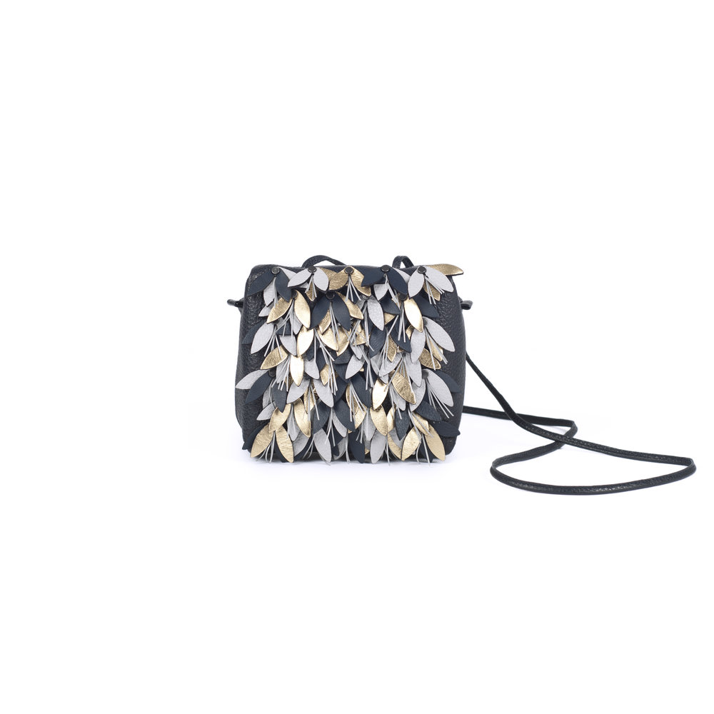 leather clutch handbag with reflective details | Joan