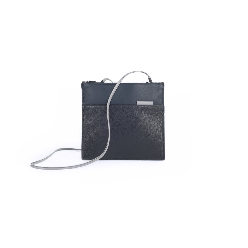 leather clutch handbag with reflective details   Bobby