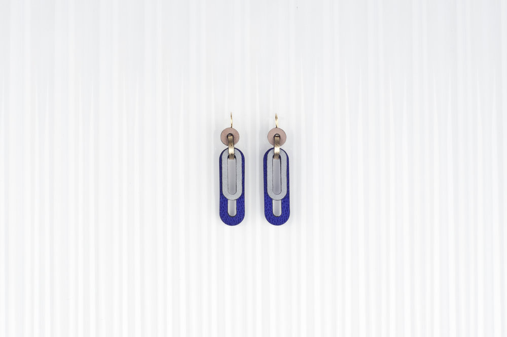 leather earrings with reflective details   Charlie