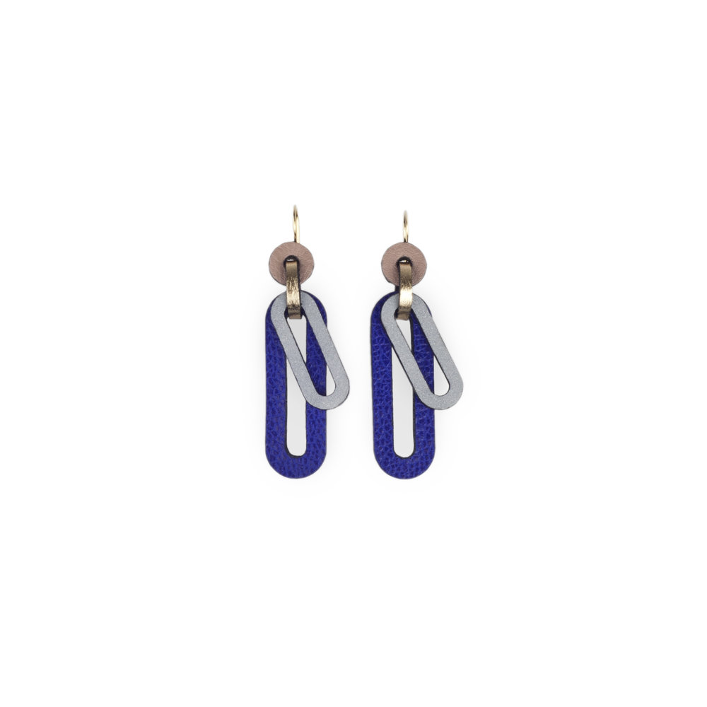 leather earrings with reflective details | Charlie