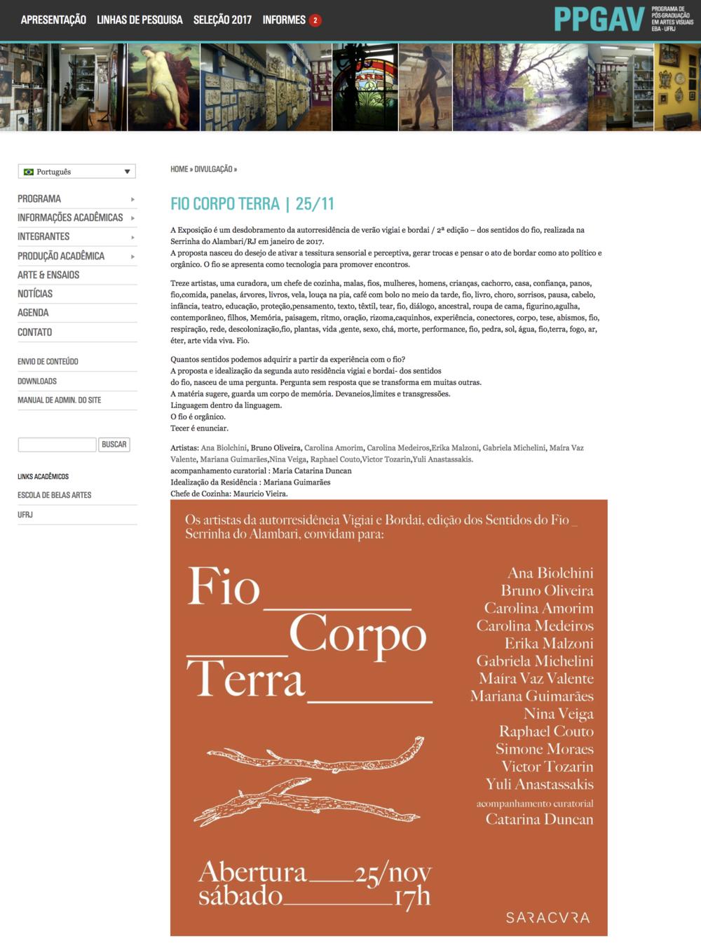 Fio, Corpo Terra na página oficial do Programa de Pós Graduação em Artes Visuais da EBA  - UFRJ