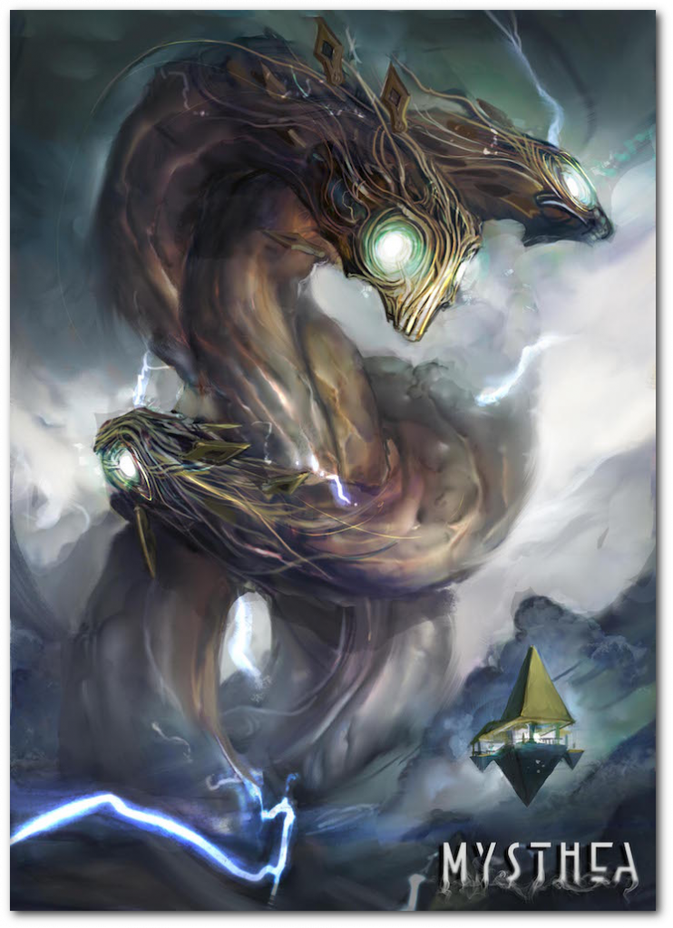 "Caerulas, nicknamed ""the inhabitant from below"", is a strange three-headed creature that appears out of the perennial storm that obscures Icaion."