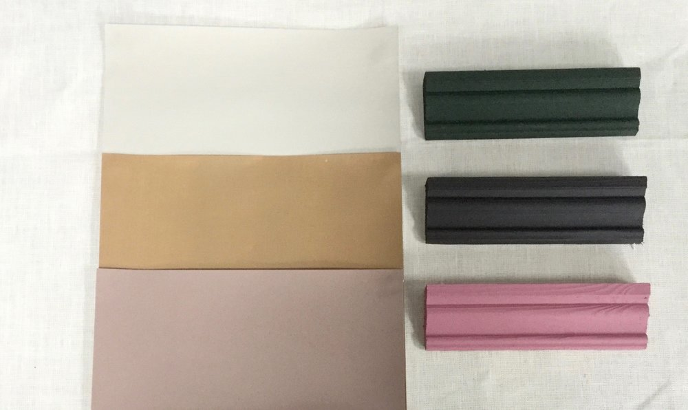 Clockwise from Top: Elephant's Breath, Obsidian Green, Paean Black, Rangwali, Sulking Room Pink, Spiced Honey, Dulux