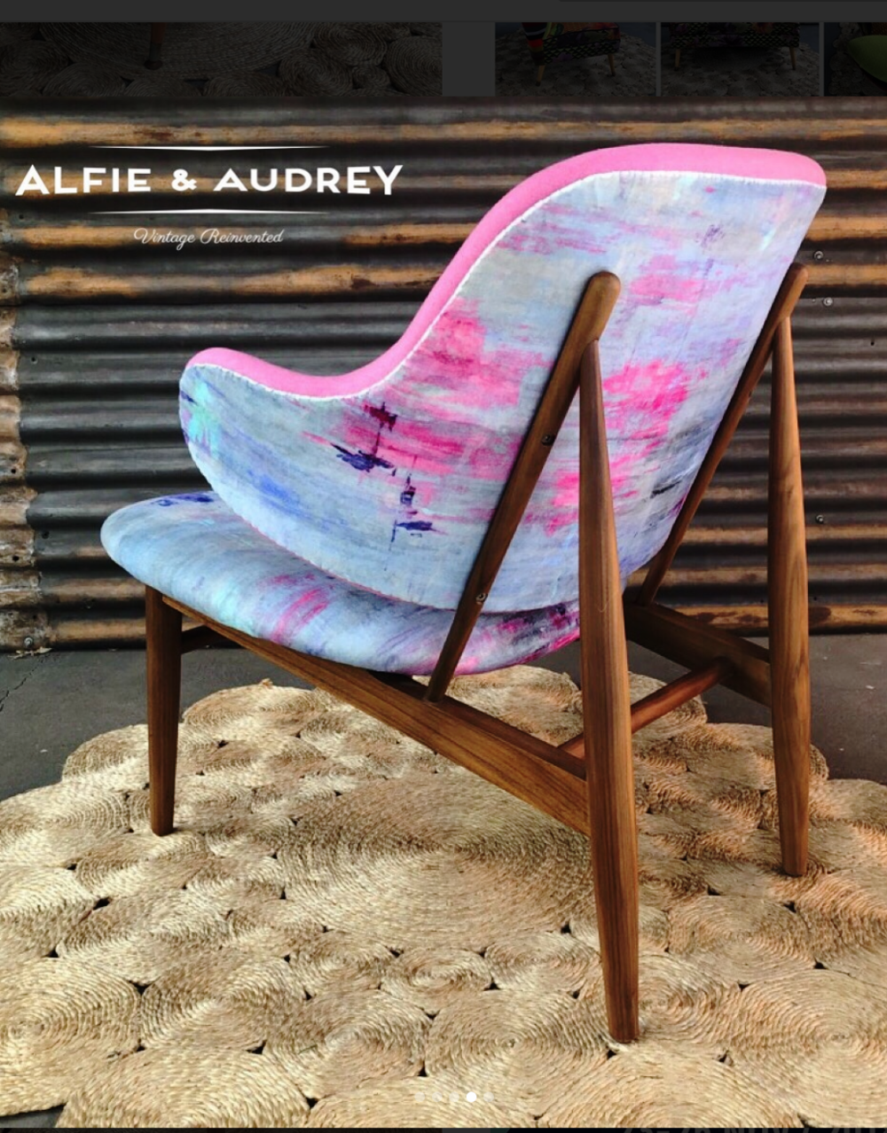 Mid-century chair restoration by Alfie & Audrey, Australia using cotton velvet in 'Reflection' from Salon Libertine London.