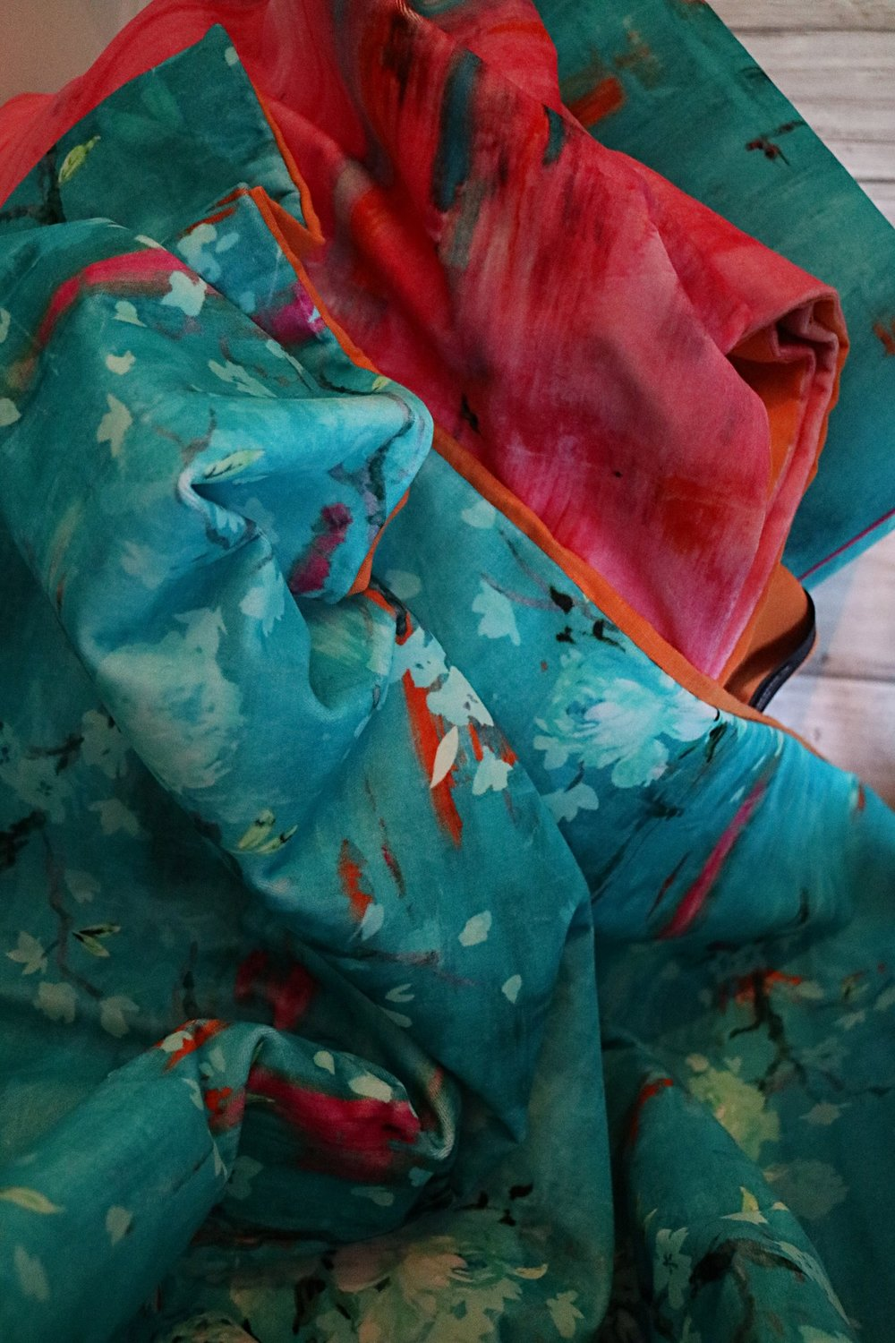 Cotton velvet throws in 'Perfumes of the Night' - Floral and Abstract Editions, made by Victoria Hill Bespoke