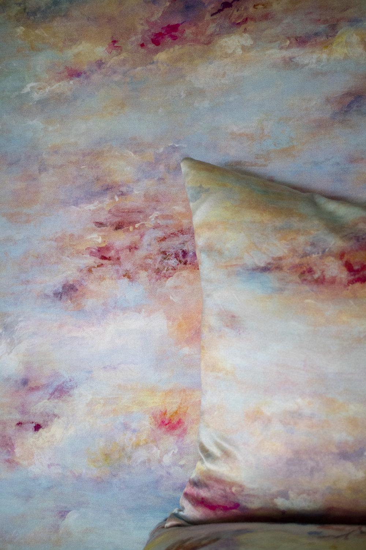 London Winter Sunset Silk Cushion