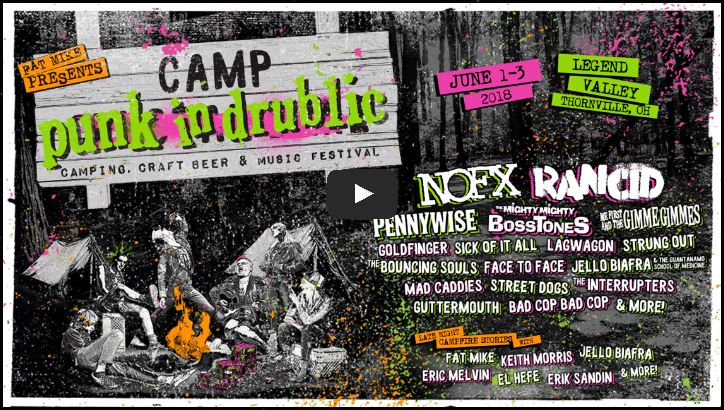 Click to watch official video for Punk in Drublic Camping Happening June 1-3 2018