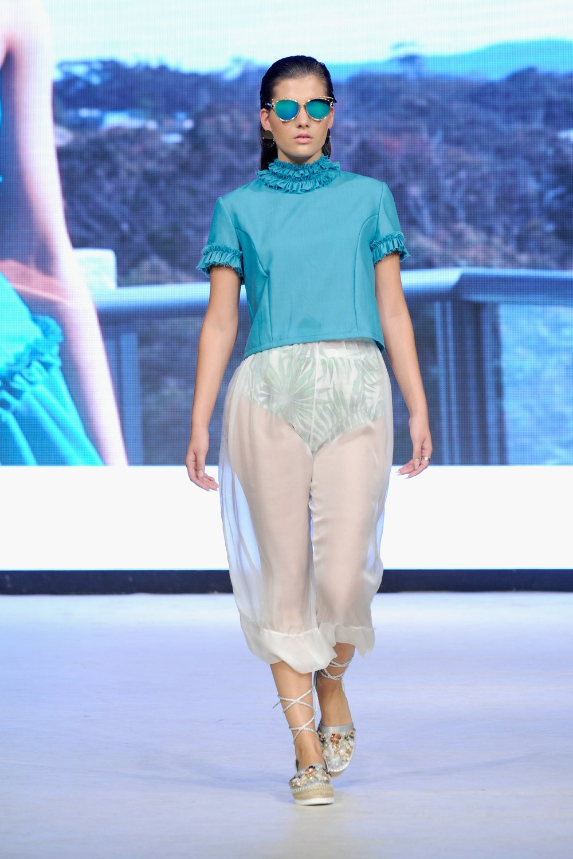 look 1 - 100% merino wool top100% linen undergarment100% silk culottes