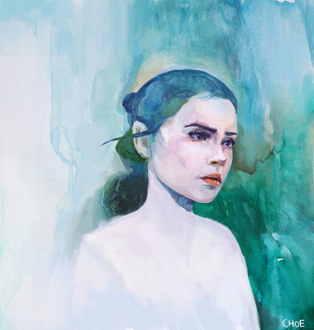Watercolor painting of the hero everyone needs bur doesn't deserve. Rey - Star Wars, The Last Jedi _____________  #daisyridley #art #artgram #artistsoninstagram #sydneyart #watercolor #watercolorpainting #painting #rey #starwars #starwars8 #starwarsart #jameschoe #instadaily