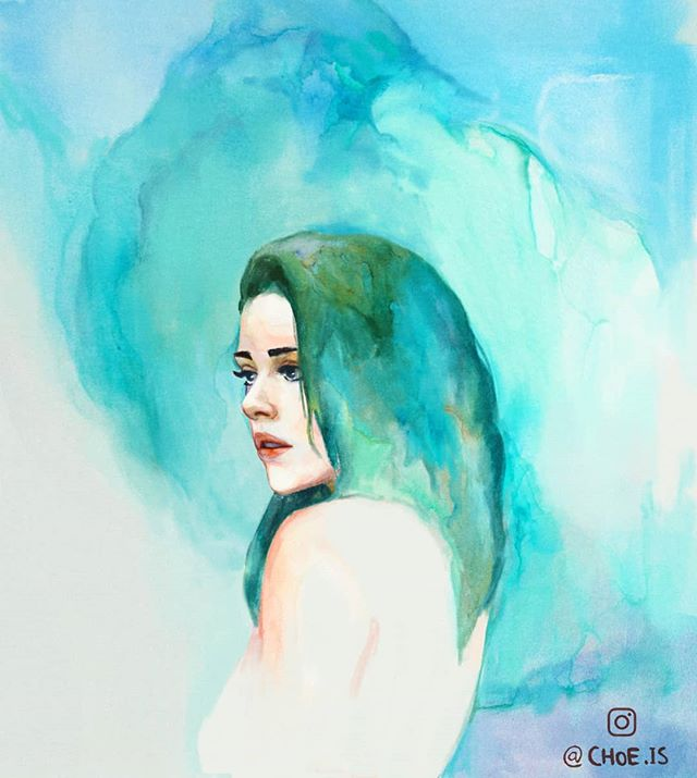 A painting of the amazing @salomebrembilla . I was incredibly fortunate to have been able to work with her last year on a music video. She's one of the most positive people you'll ever meet. I hope this painting did her justice :) ________________  #art #illustration #watercolor #watercolour #prints #blue #beautiful #model #painting #girl #portrait #choe #instaart #sketch #drawing
