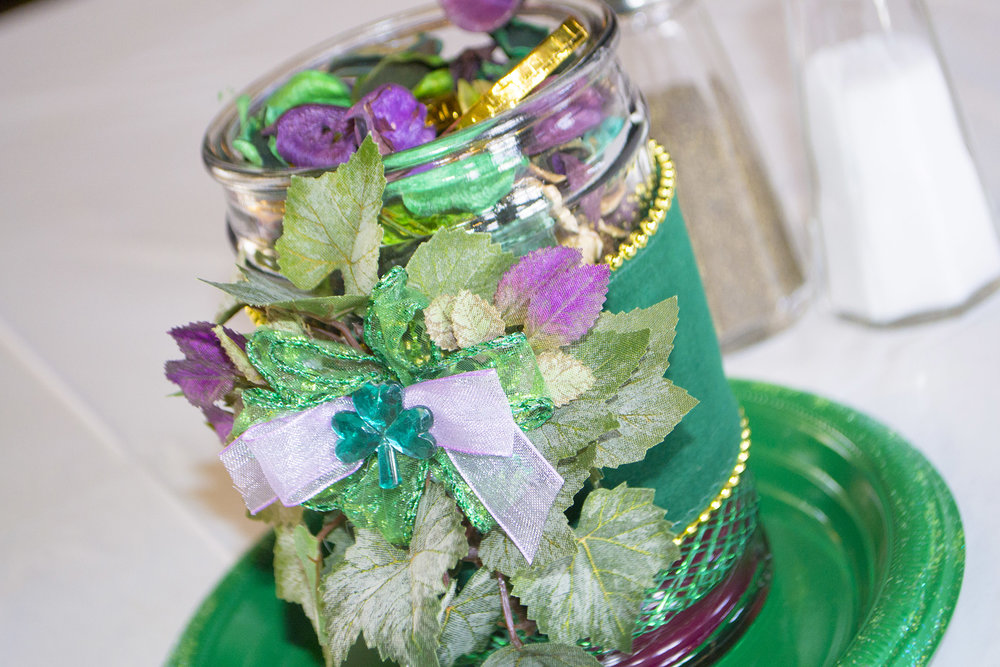 We got a head start on the St. Patrick's Day festivities and added a little extra touch to each table with these centerpieces crafted by Pat Foster.
