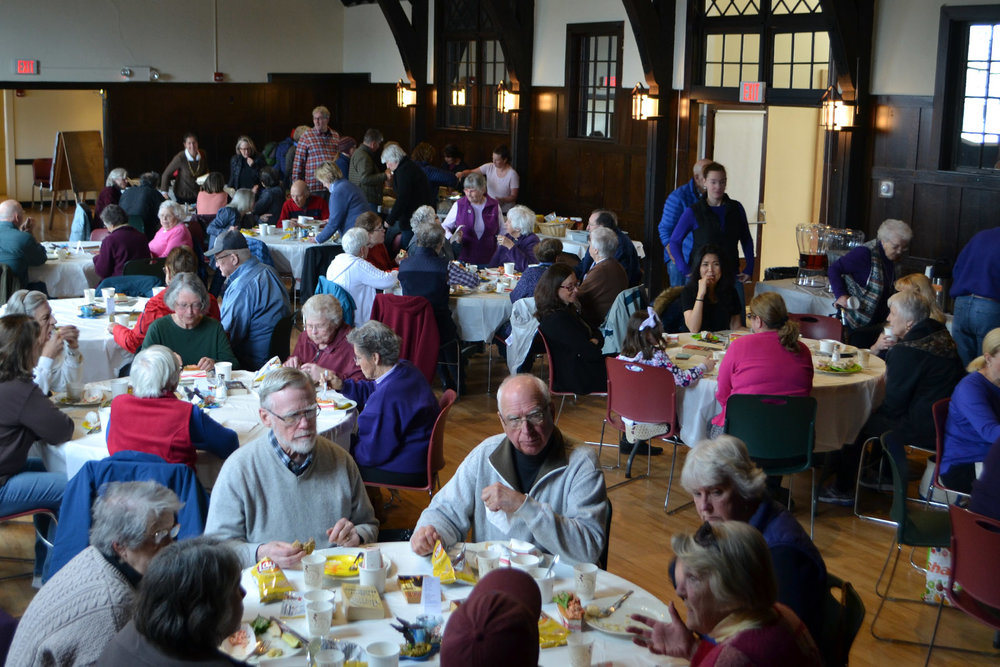 It was a full house at the final Community Cafe of the season. In fact, the crowd as so big, we had to set up some extra tables in the entryway.
