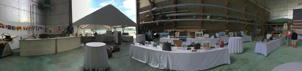 A panoramic view of the boat bay and tent after our team of volunteers worked their magic all morning long…