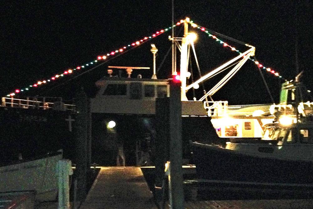 The Sunbeam V docked in Northeast Harbor