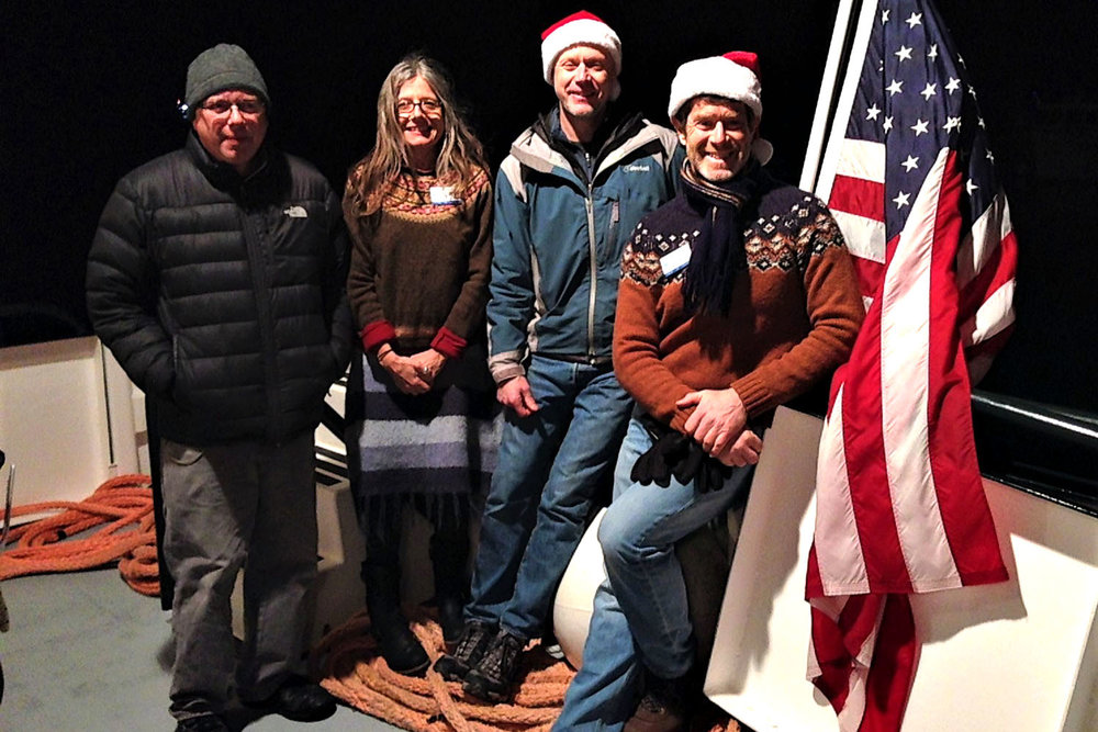 Storey, Jillian, Mike, and Douglas on board Sunbeam V