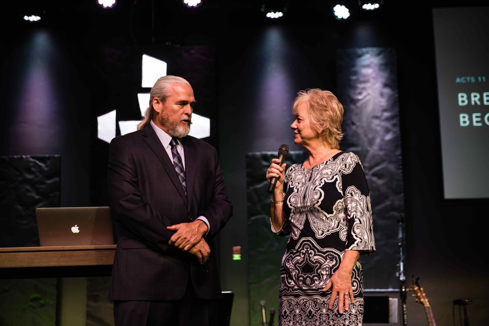 Pastors Alan and Gail Hawkins at our new building dedication | July 2017