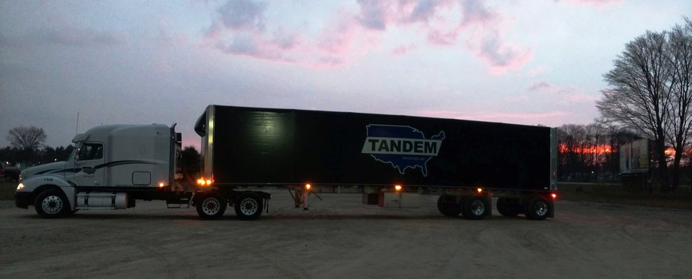 Night shot of truck and trailer