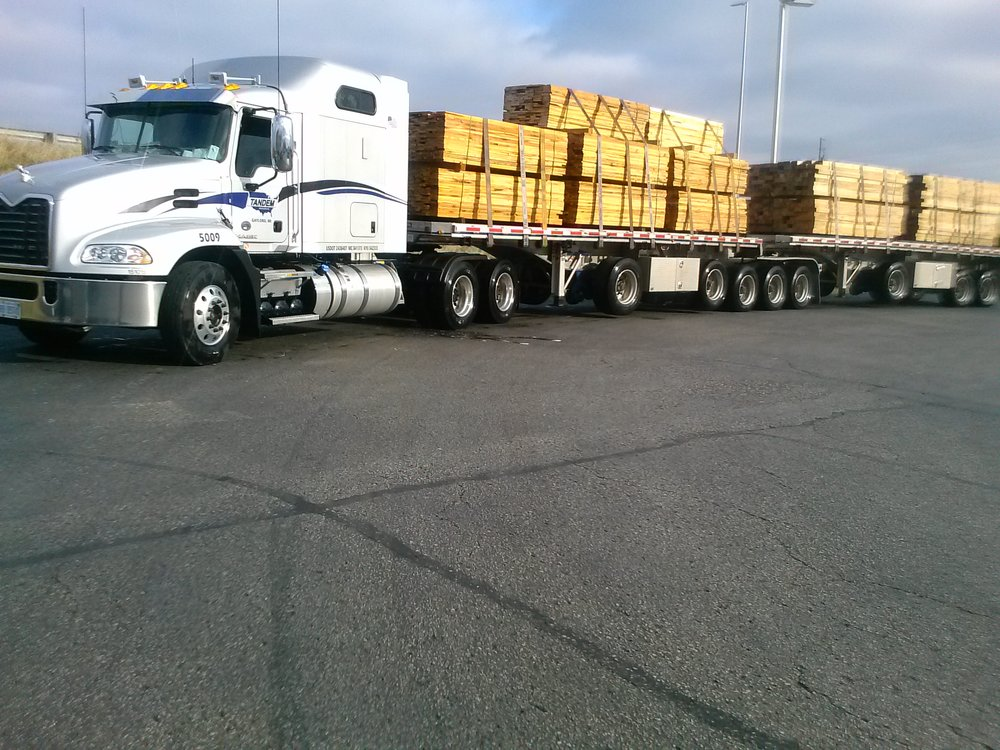 B-Trains double stacked with lumber