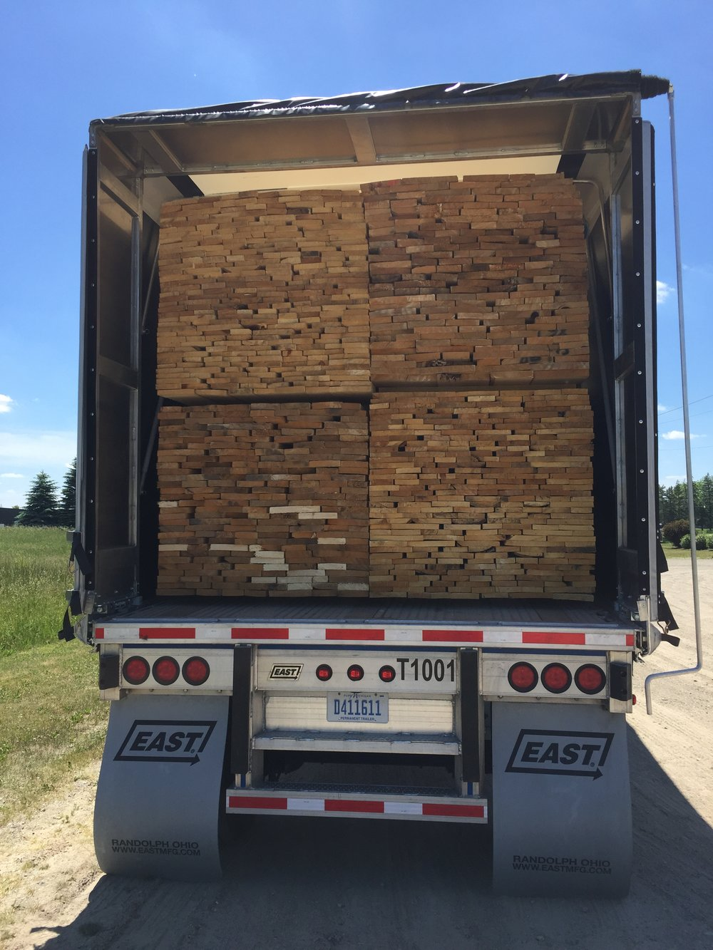 Double stacked timber in Conestoga
